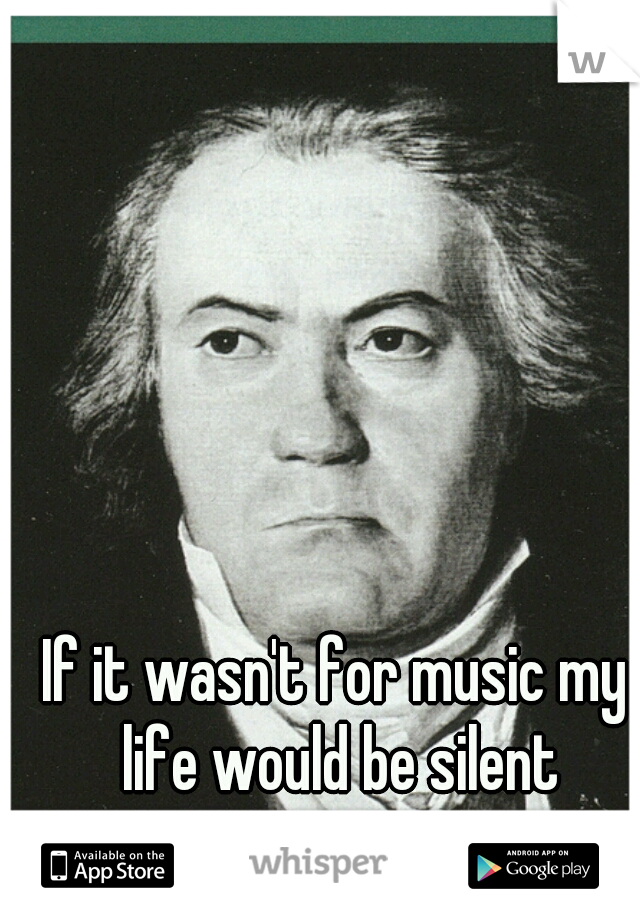 If it wasn't for music my life would be silent