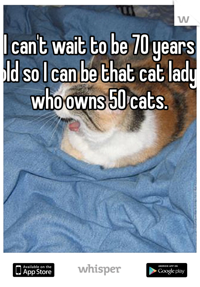 I can't wait to be 70 years old so I can be that cat lady who owns 50 cats.
