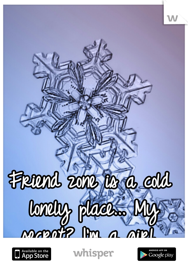 Friend zone is a cold lonely place... My secret? I'm a girl...