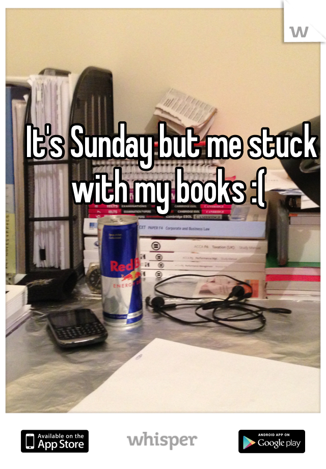 It's Sunday but me stuck with my books :(