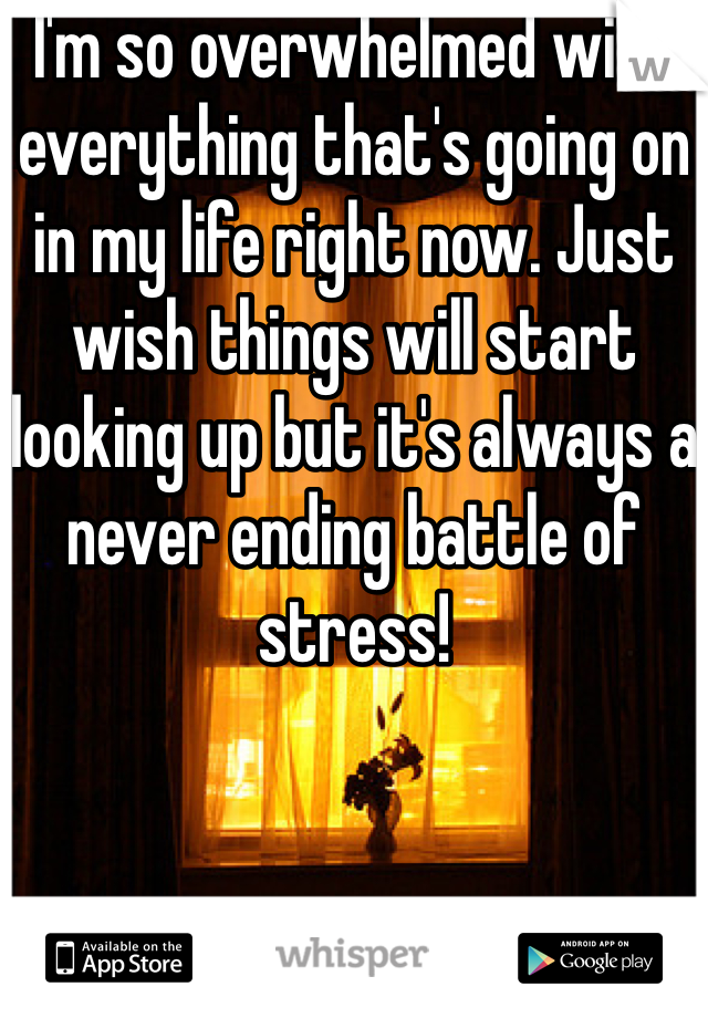 I'm so overwhelmed with everything that's going on in my life right now. Just wish things will start looking up but it's always a never ending battle of stress!