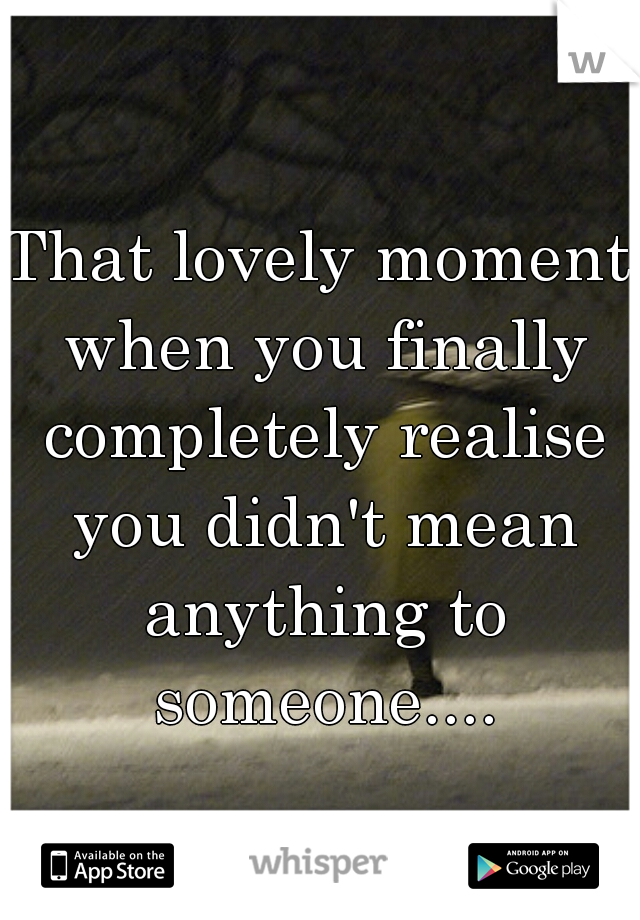 That lovely moment when you finally completely realise you didn't mean anything to someone....