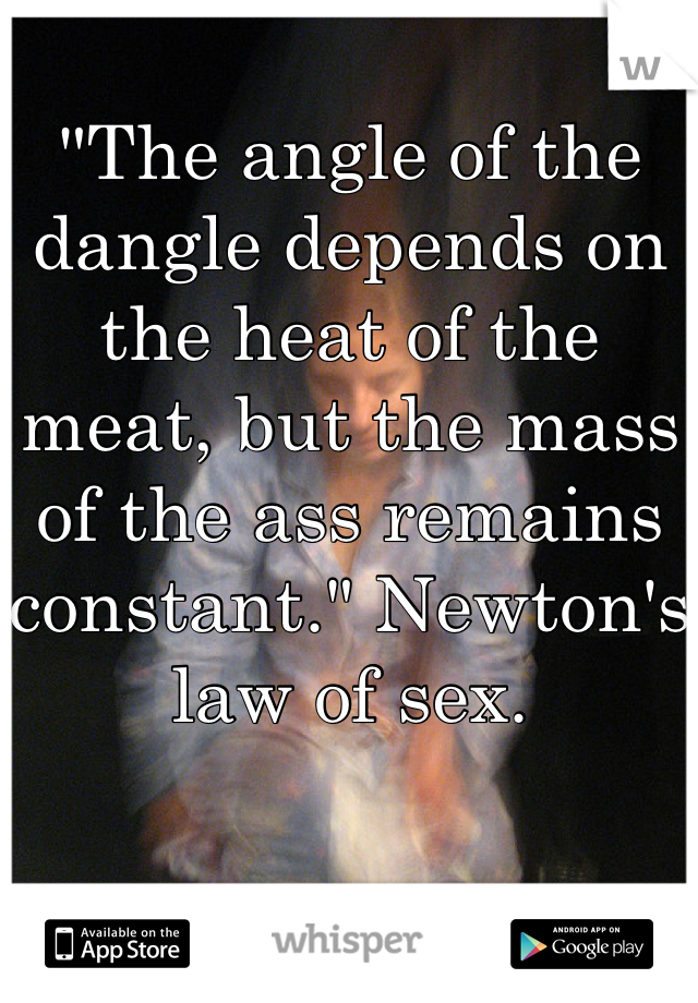 """""""The angle of the dangle depends on the heat of the meat, but the mass of the ass remains constant."""" Newton's law of sex."""