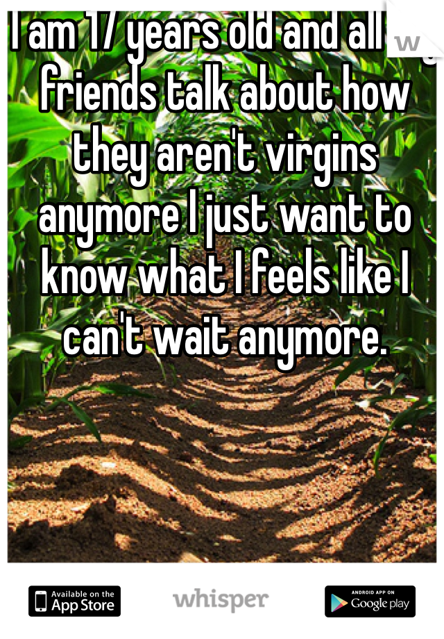 I am 17 years old and all my friends talk about how they aren't virgins anymore I just want to know what I feels like I can't wait anymore.