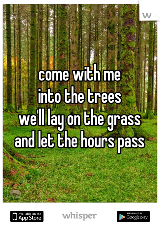 come with me into the trees we'll lay on the grass and let the hours pass