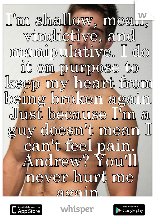 I'm shallow, mean, vindictive, and manipulative. I do it on purpose to keep my heart from being broken again. Just because I'm a guy doesn't mean I can't feel pain. Andrew? You'll never hurt me again.