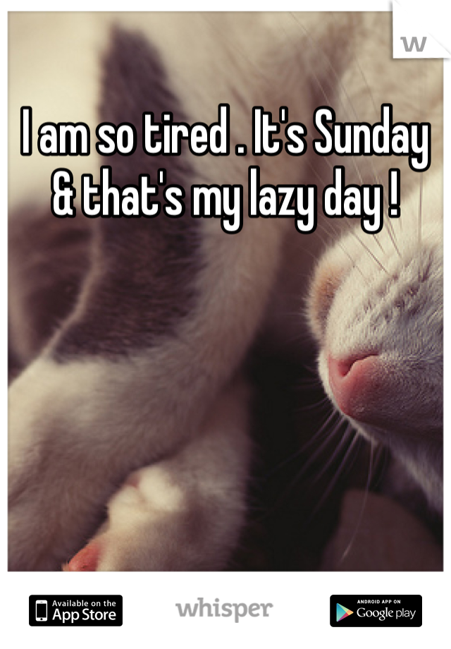 I am so tired . It's Sunday & that's my lazy day !