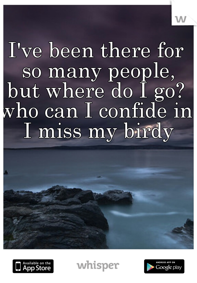 I've been there for so many people,  but where do I go?  who can I confide in?  I miss my birdy