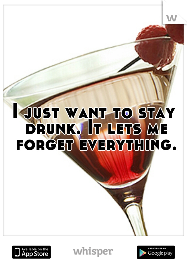 I just want to stay drunk. It lets me forget everything.
