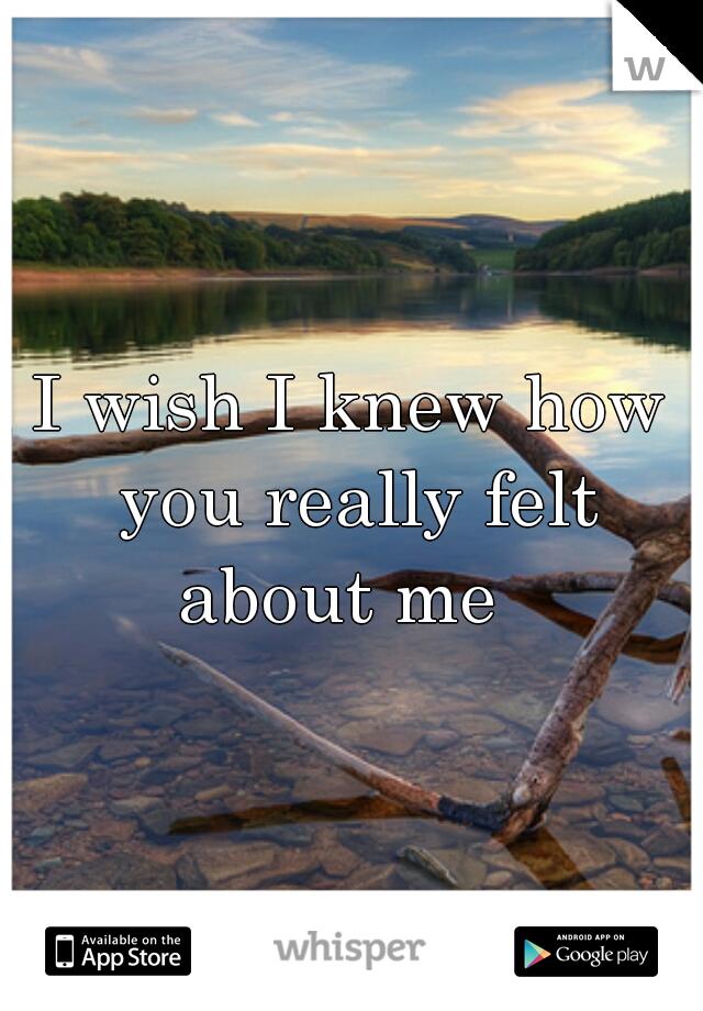 I wish I knew how you really felt about me