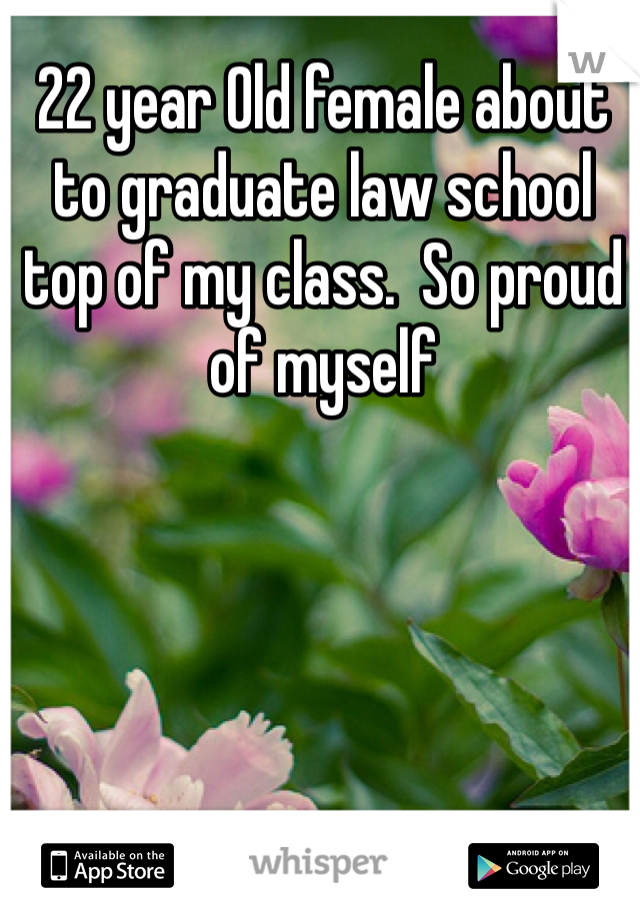 22 year Old female about to graduate law school top of my class.  So proud of myself