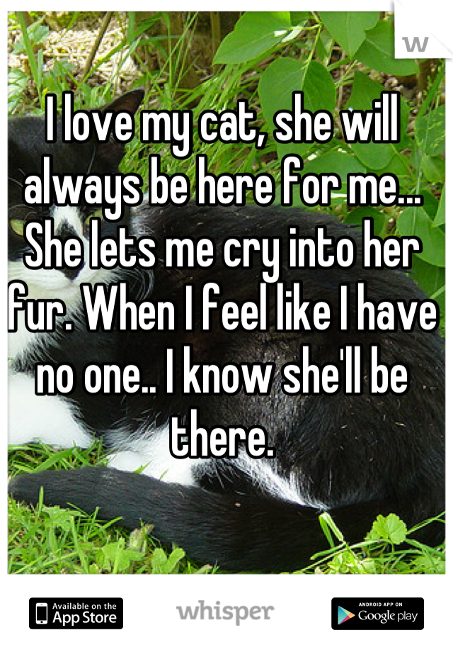 I love my cat, she will always be here for me... She lets me cry into her fur. When I feel like I have no one.. I know she'll be there.