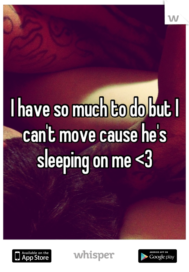 I have so much to do but I can't move cause he's sleeping on me <3