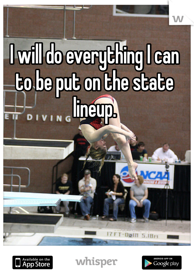 I will do everything I can to be put on the state lineup.
