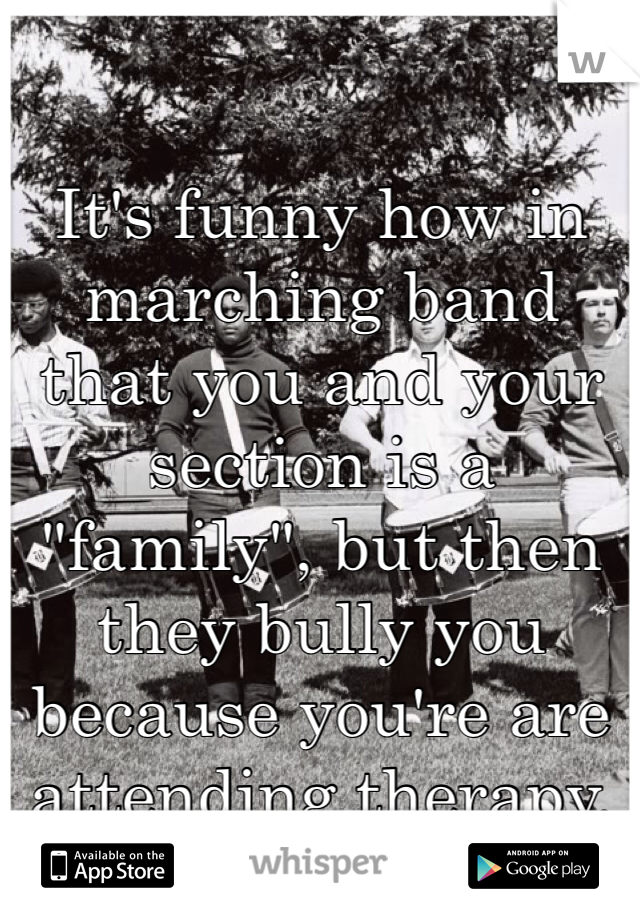 "It's funny how in marching band that you and your section is a ""family"", but then they bully you because you're are attending therapy."