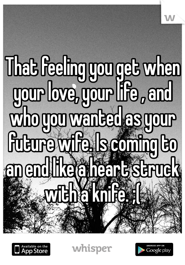 That feeling you get when your love, your life , and who you wanted as your future wife. Is coming to an end like a heart struck with a knife. ;(