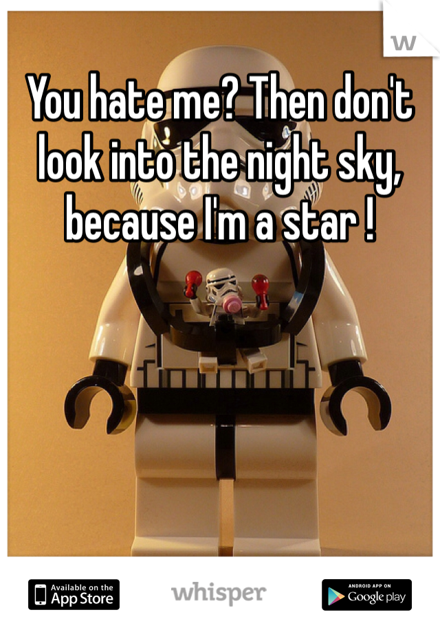 You hate me? Then don't look into the night sky, because I'm a star !