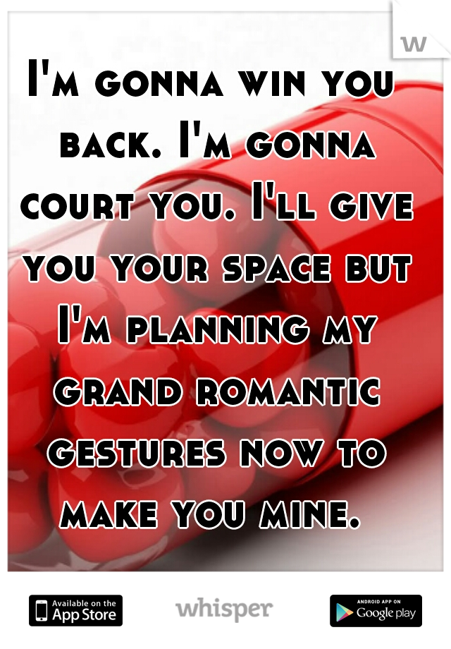I'm gonna win you back. I'm gonna court you. I'll give you your space but I'm planning my grand romantic gestures now to make you mine.