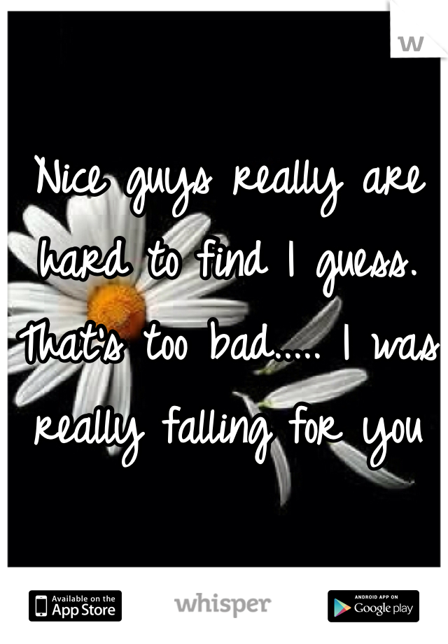 Nice guys really are hard to find I guess. That's too bad..... I was really falling for you