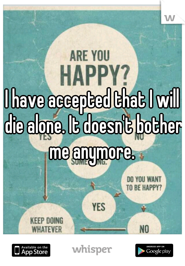 I have accepted that I will die alone. It doesn't bother me anymore.