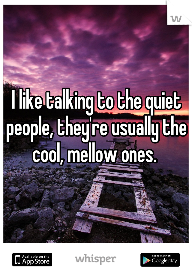 I like talking to the quiet people, they're usually the cool, mellow ones.