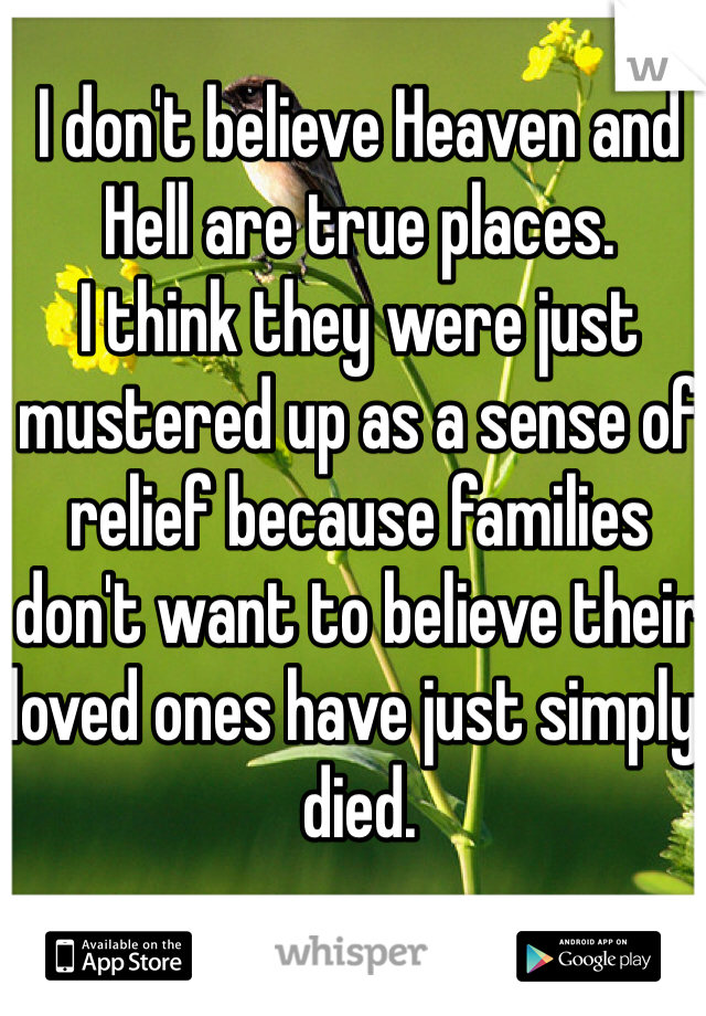 I don't believe Heaven and Hell are true places. I think they were just mustered up as a sense of relief because families don't want to believe their loved ones have just simply, died.