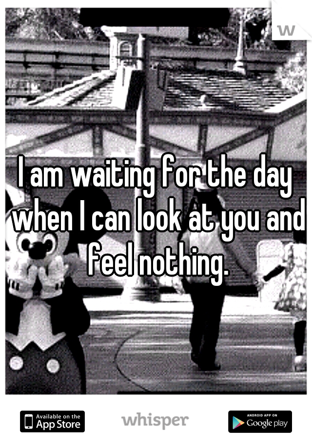I am waiting for the day when I can look at you and feel nothing.