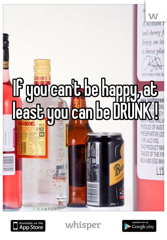 If you can't be happy, at least you can be DRUNK !
