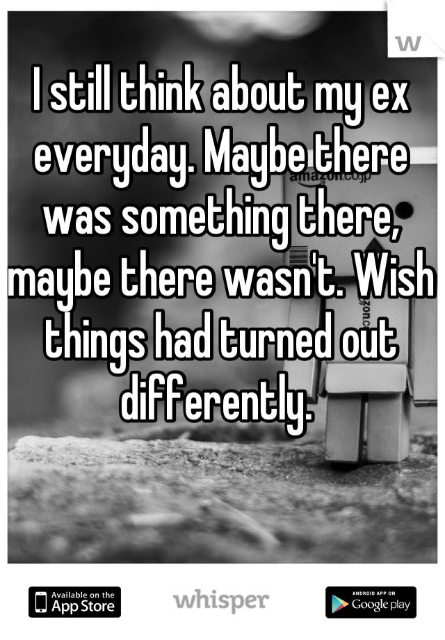 I still think about my ex everyday. Maybe there was something there, maybe there wasn't. Wish things had turned out differently.