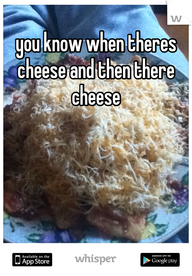 you know when theres cheese and then there cheese
