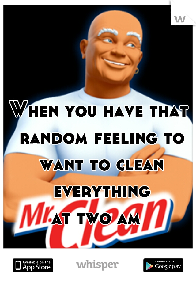 When you have that  random feeling to  want to clean everything  at two am