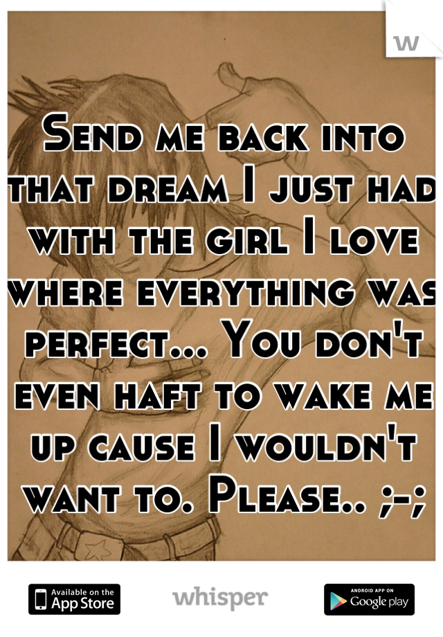 Send me back into that dream I just had with the girl I love where everything was perfect... You don't even haft to wake me up cause I wouldn't want to. Please.. ;-;