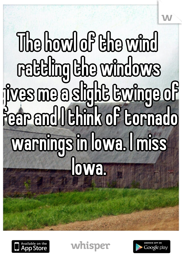 The howl of the wind rattling the windows gives me a slight twinge of fear and I think of tornado warnings in Iowa. I miss Iowa.