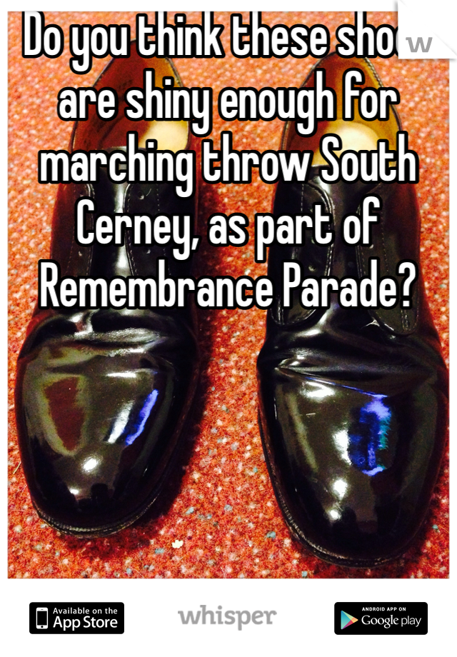 Do you think these shoes are shiny enough for marching throw South Cerney, as part of Remembrance Parade?