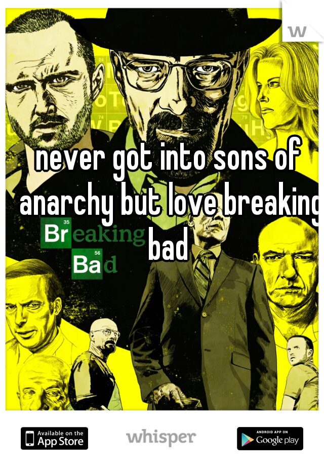 never got into sons of anarchy but love breaking bad