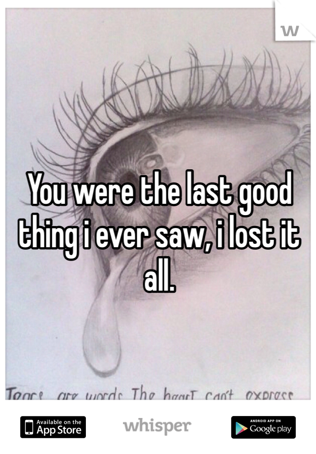 You were the last good thing i ever saw, i lost it all.