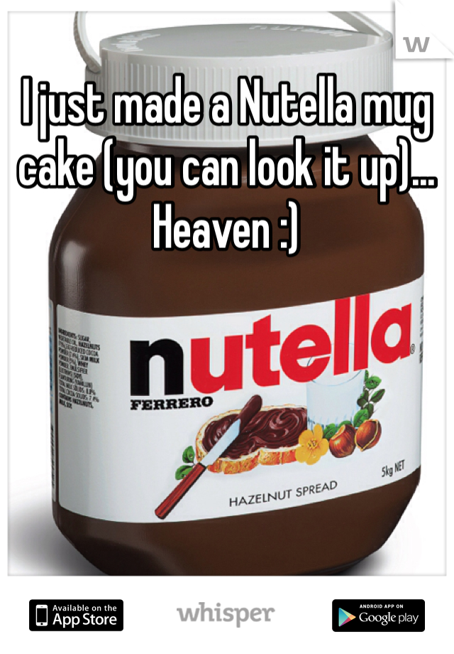 I just made a Nutella mug cake (you can look it up)... Heaven :)
