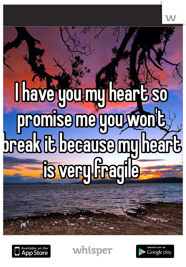 I have you my heart so promise me you won't break it because my heart is very fragile