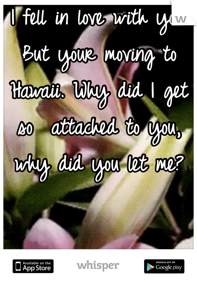 I fell in love with you. But your moving to Hawaii. Why did I get so  attached to you, why did you let me?