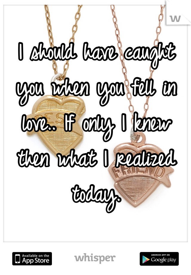 I should have caught you when you fell in love.. If only I knew then what I realized today.