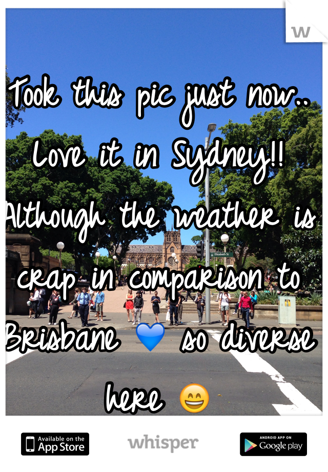 Took this pic just now.. Love it in Sydney!! Although the weather is crap in comparison to Brisbane 💙 so diverse here 😄