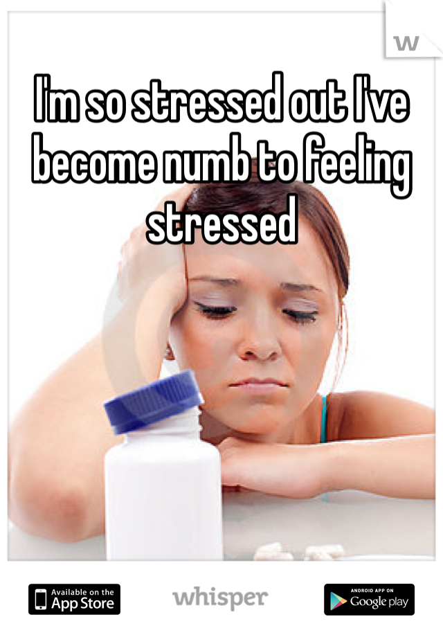 I'm so stressed out I've become numb to feeling stressed