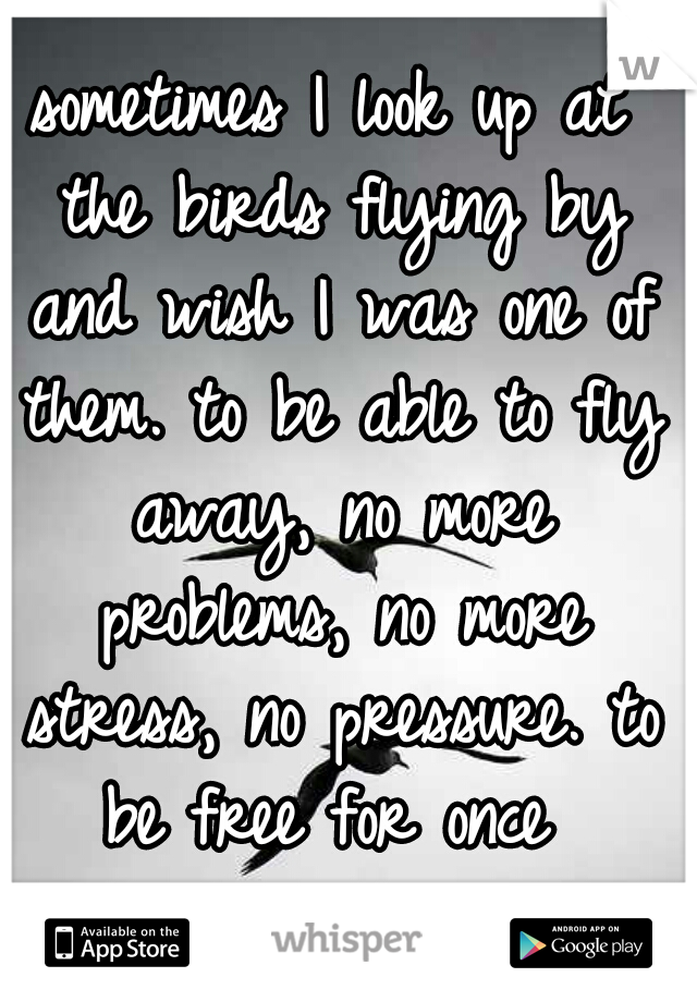 sometimes I look up at the birds flying by and wish I was one of them. to be able to fly away, no more problems, no more stress, no pressure. to be free for once