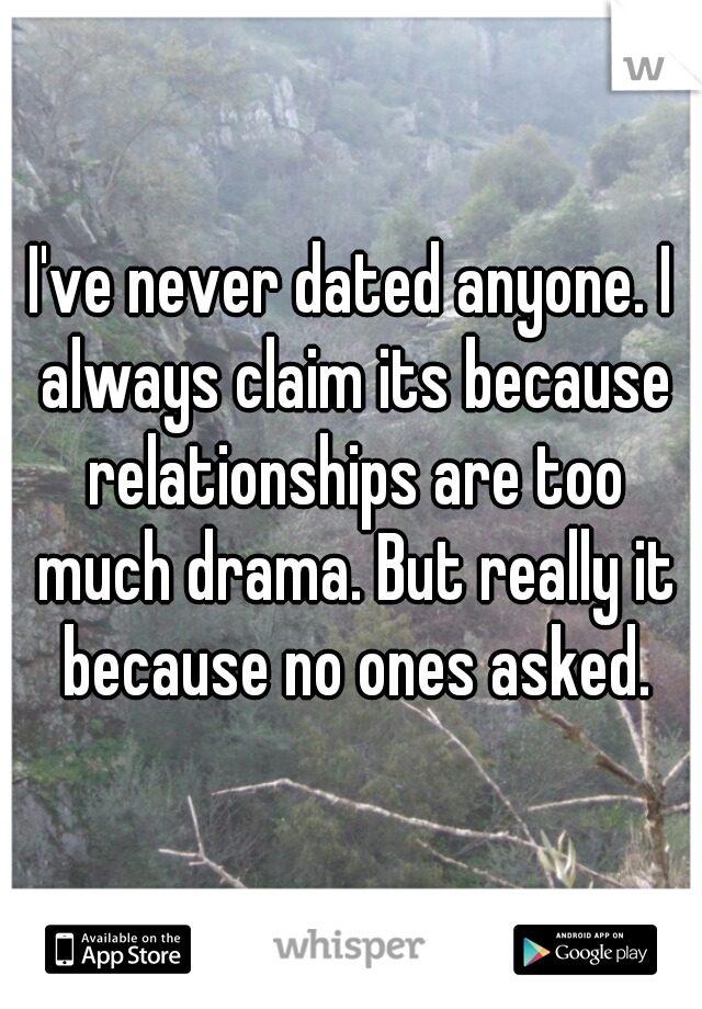 I've never dated anyone. I always claim its because relationships are too much drama. But really it because no ones asked.