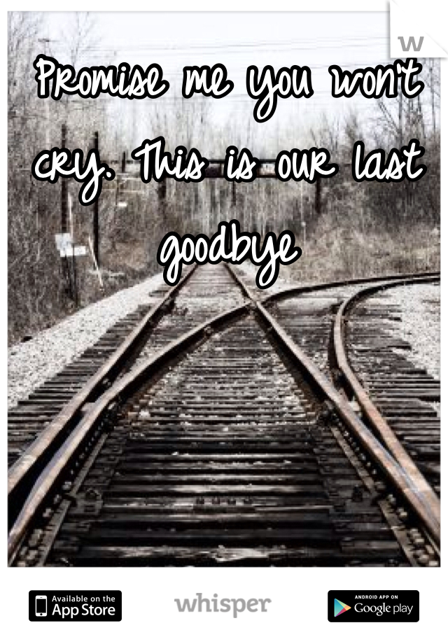 Promise me you won't cry. This is our last goodbye