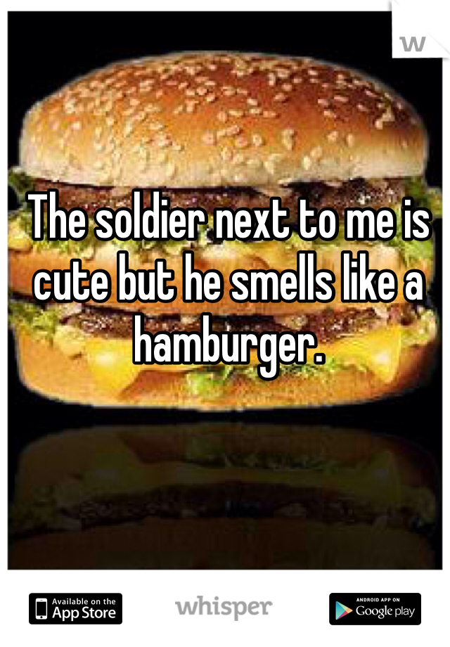 The soldier next to me is cute but he smells like a hamburger.