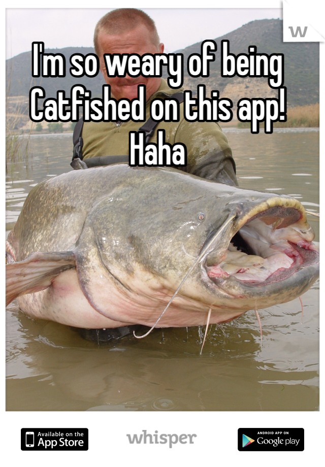 I'm so weary of being Catfished on this app! Haha