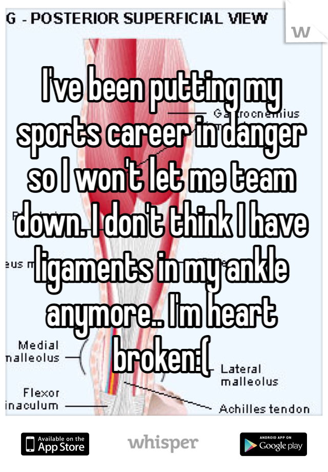 I've been putting my sports career in danger so I won't let me team down. I don't think I have ligaments in my ankle anymore.. I'm heart broken:(