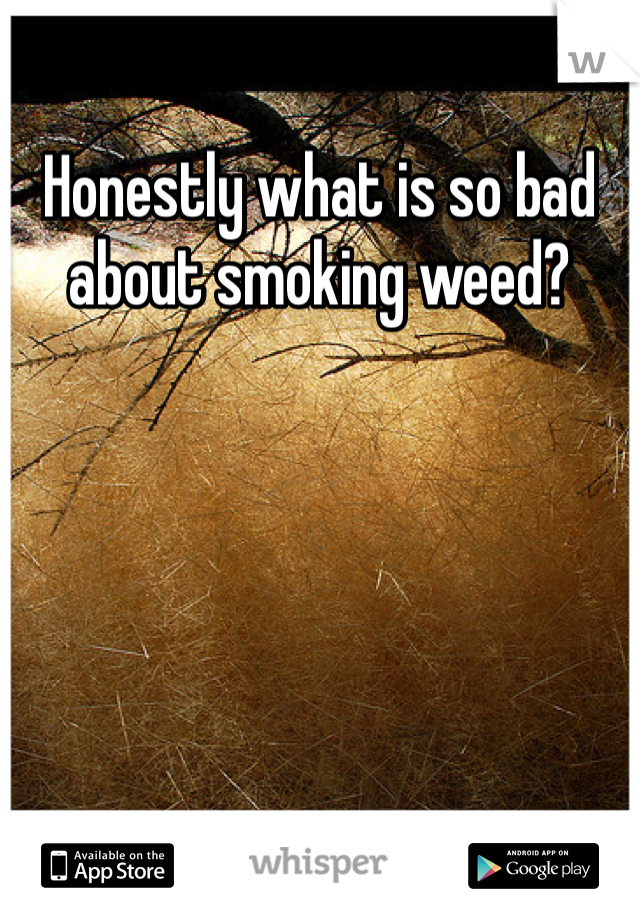 Honestly what is so bad about smoking weed?