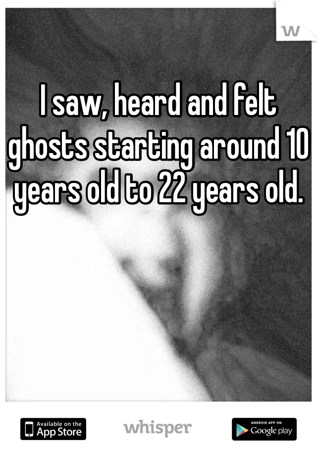 I saw, heard and felt ghosts starting around 10 years old to 22 years old.